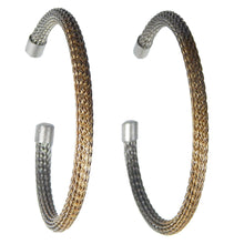 Load image into Gallery viewer, Large Viking Knit Hoop Earrings - Silver Alloy
