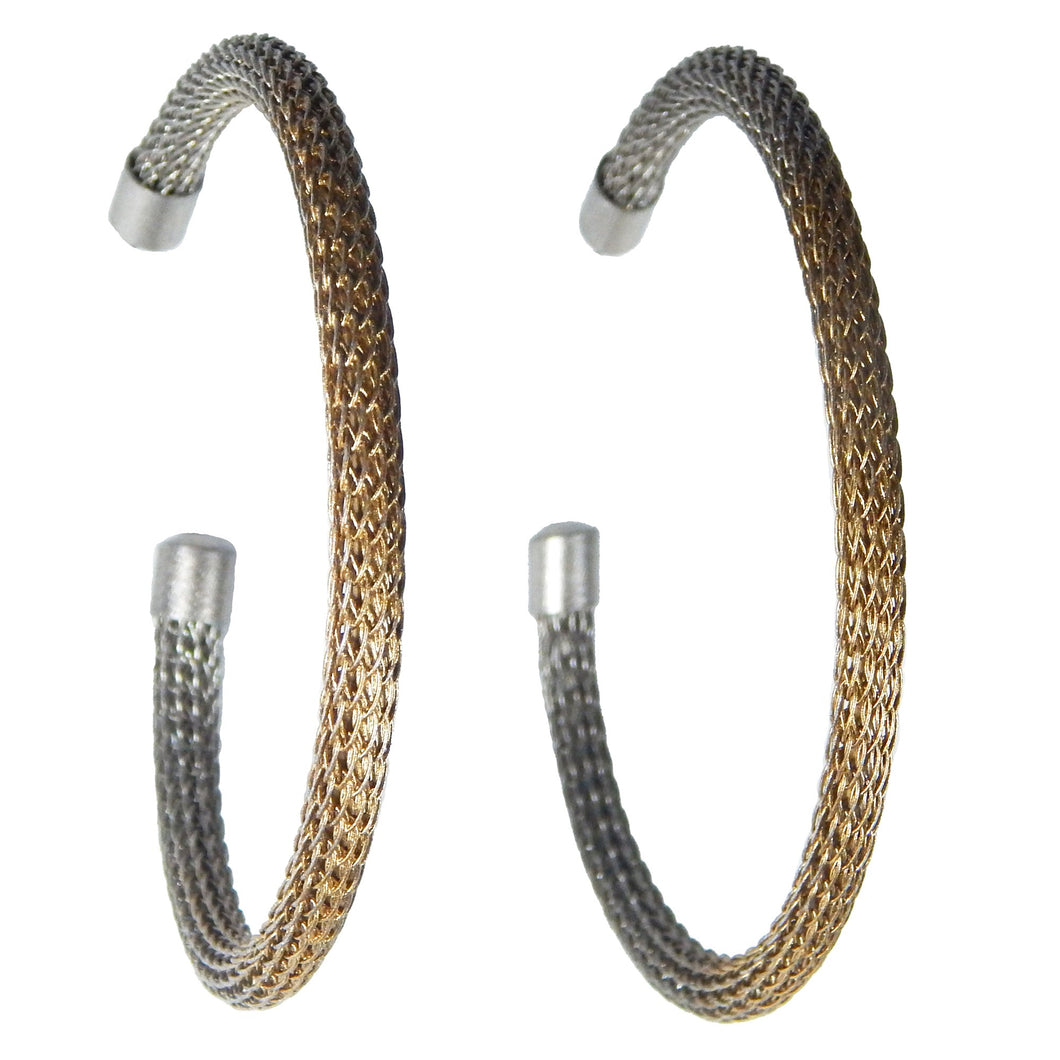 Large Viking Knit Hoop Earrings - Silver Alloy