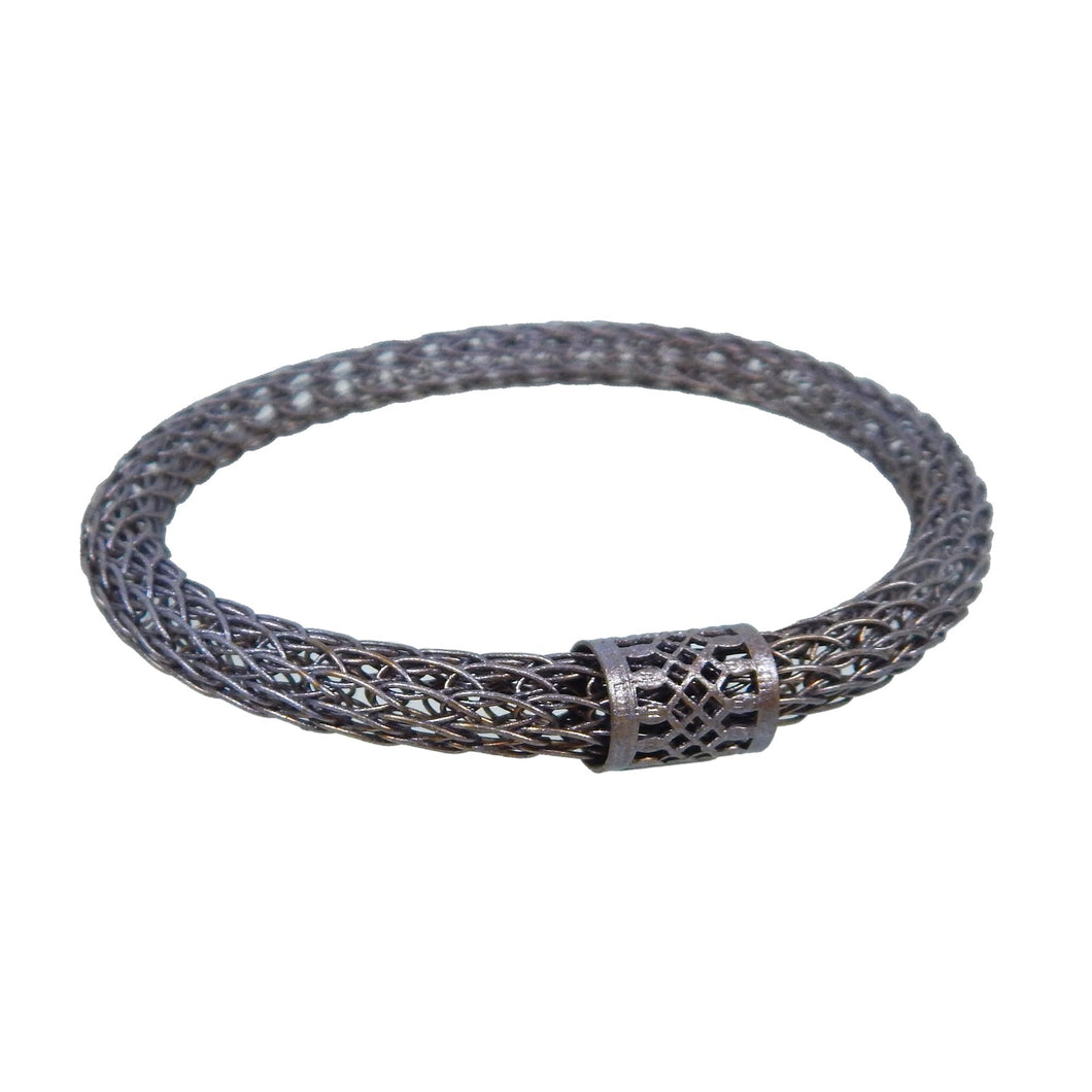 Small Viking Knit Bangle - Antique Brass Pale Peacock