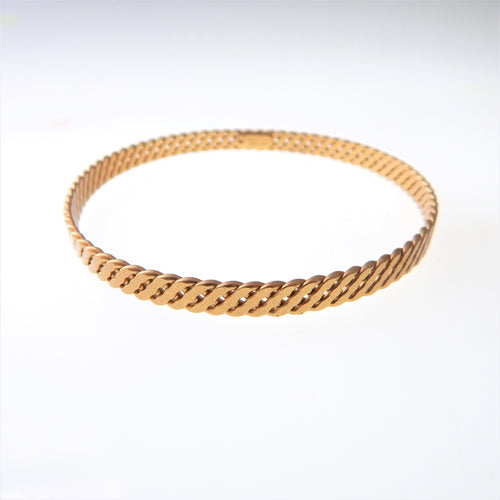 Gold Flat Twist Braid Bangle