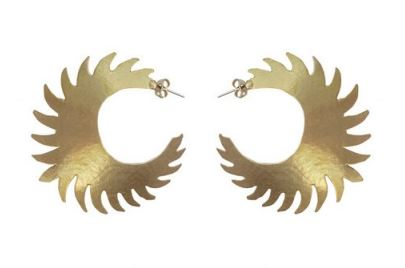Gold Plated Bronze Sunburst Hoop Earrings