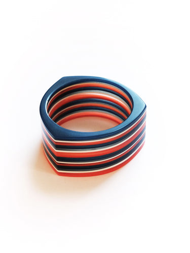 Bold Navy & Orange Resin Stripe Cuff