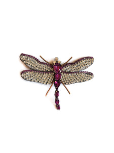 Purple & Clear Crystal Dragonfly Brooch