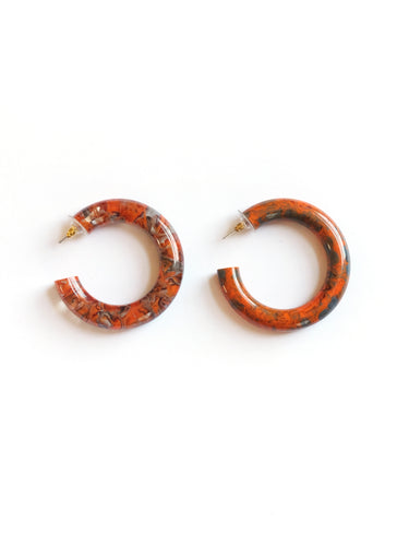Orange & Grey Marble Hoop Earrings