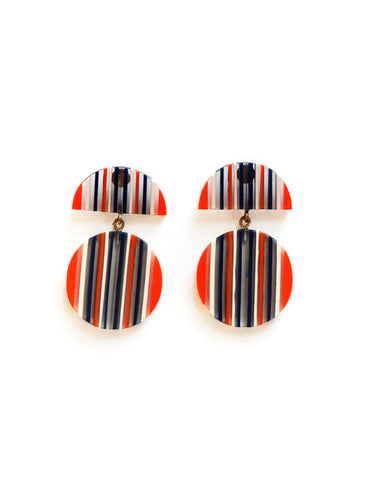 Bold Navy & Orange Resin Stripe Earrings