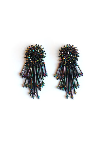 Aurora Borealis Beaded Drop Earrings
