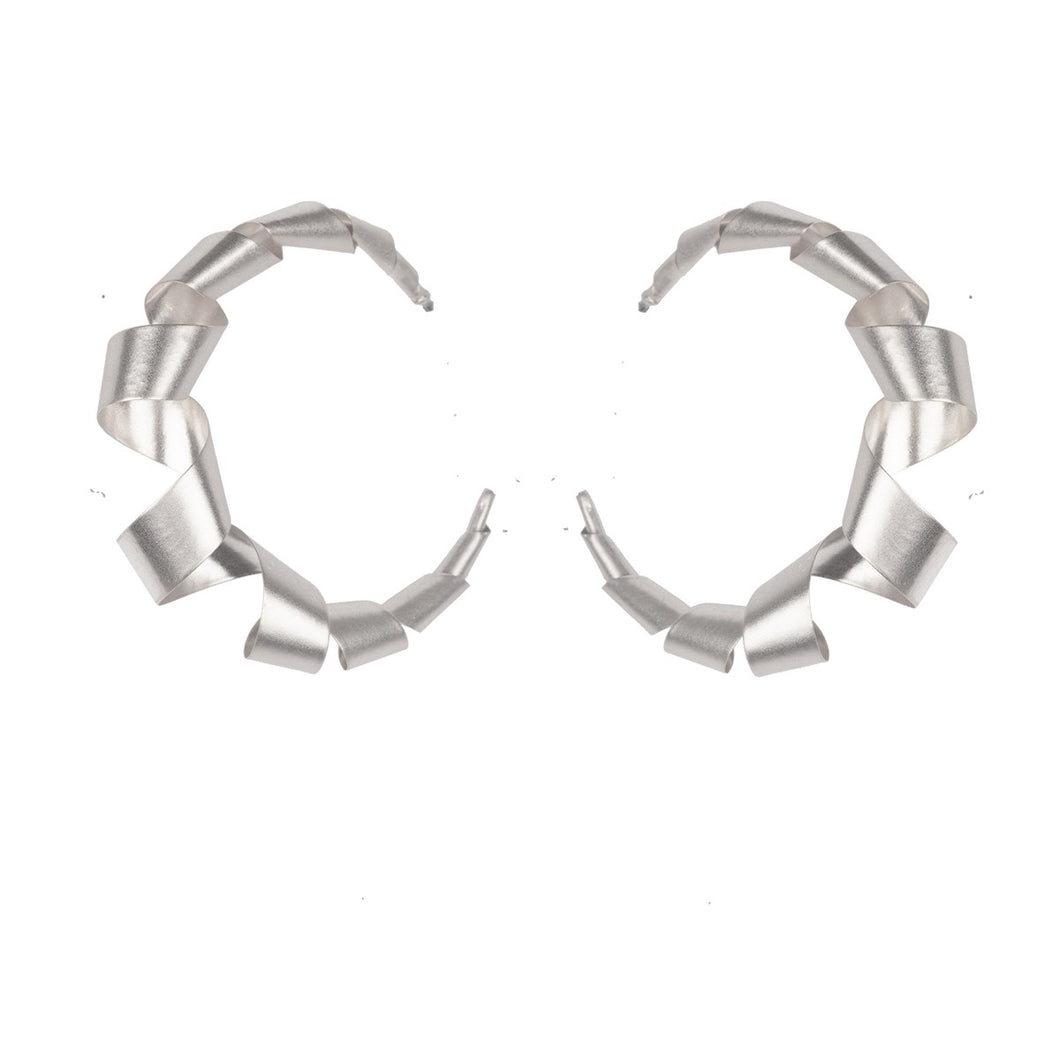 Silver Curling Ribbon Hoop Earrings