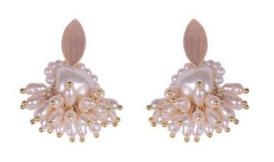 Gold Plated Bronze & Pearl Cluster Earrings