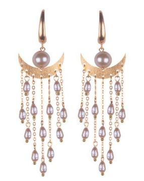 Large Crescent Pearl Drop Earrings
