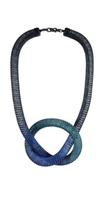 Contemporary Knotted Viking Knit Necklace - Black & Blue Nebula