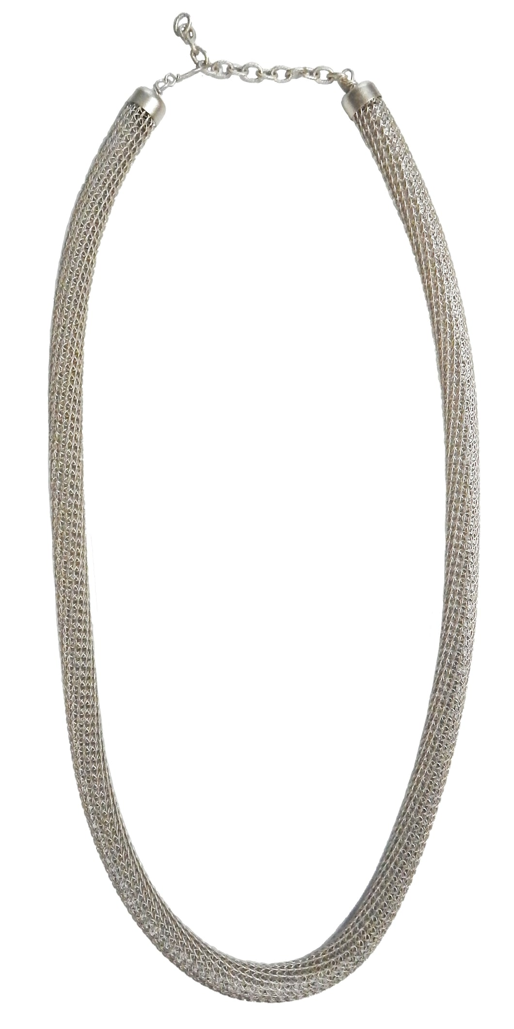 Contemporary Knotted Viking Knit Necklace - Silver Alloy