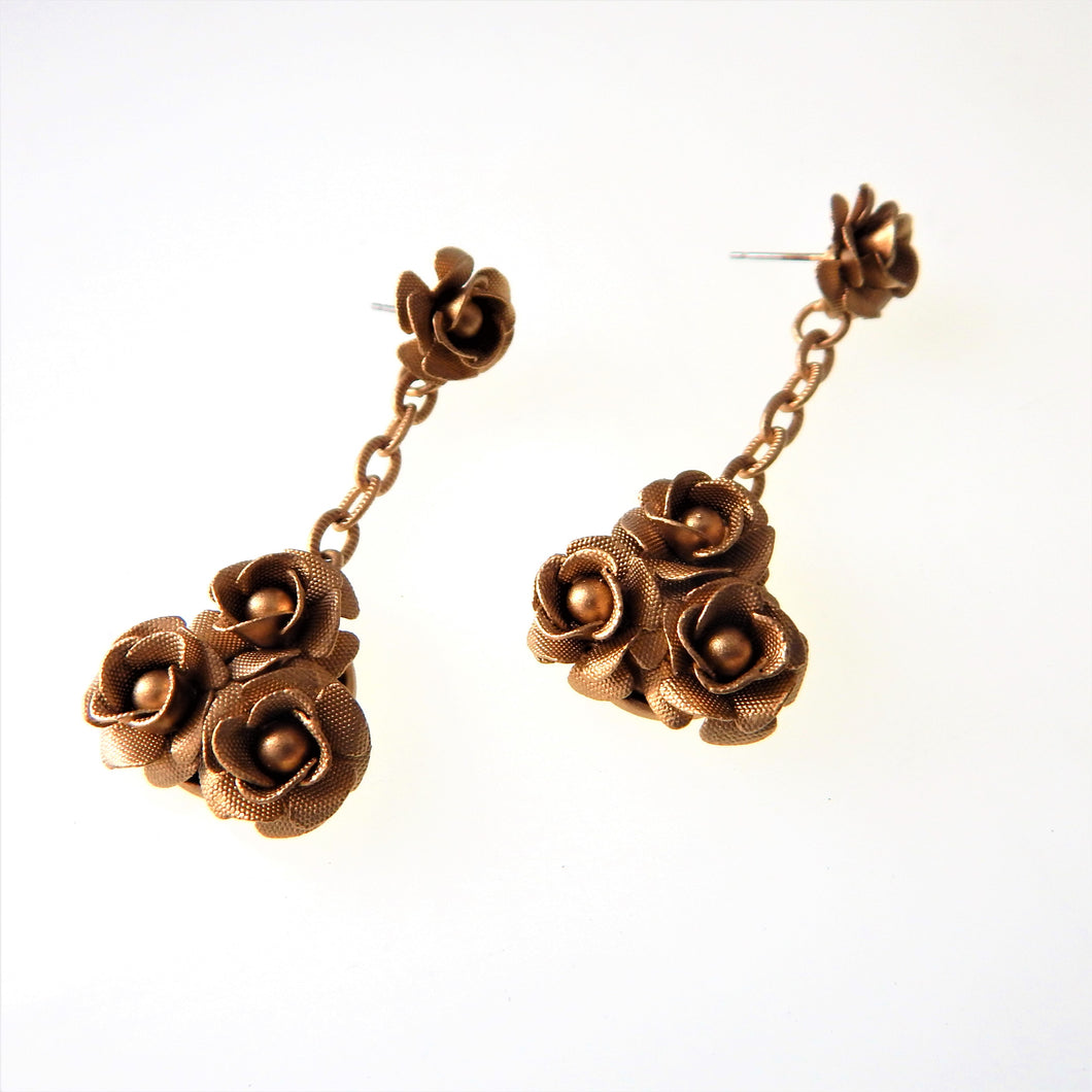 Gold Rose Drop Earrings