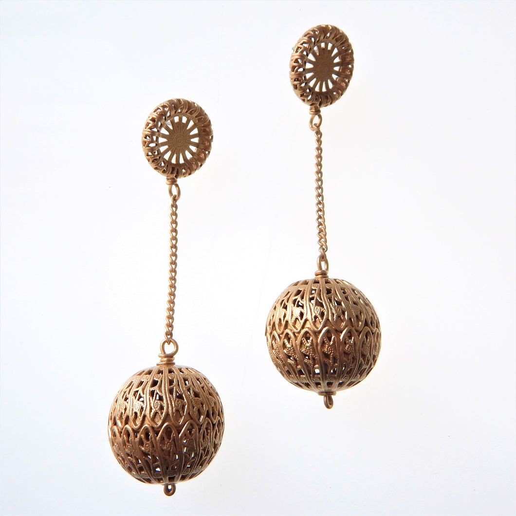Gold Filigree Ball Earrings