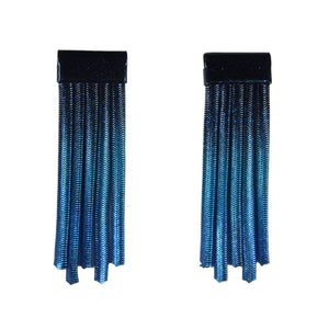 Short Fringe Earrings - Black & Blue Nebula