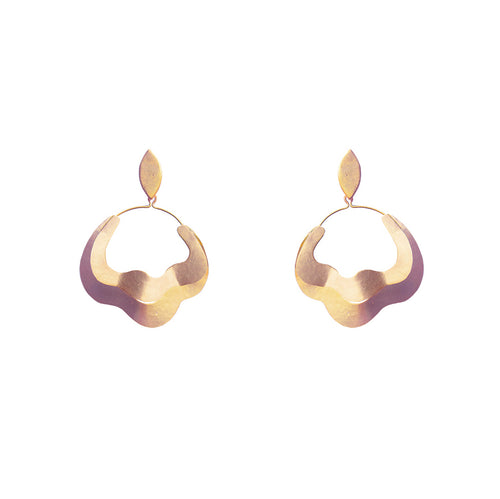 Gold Plated Bronze Fan Earring