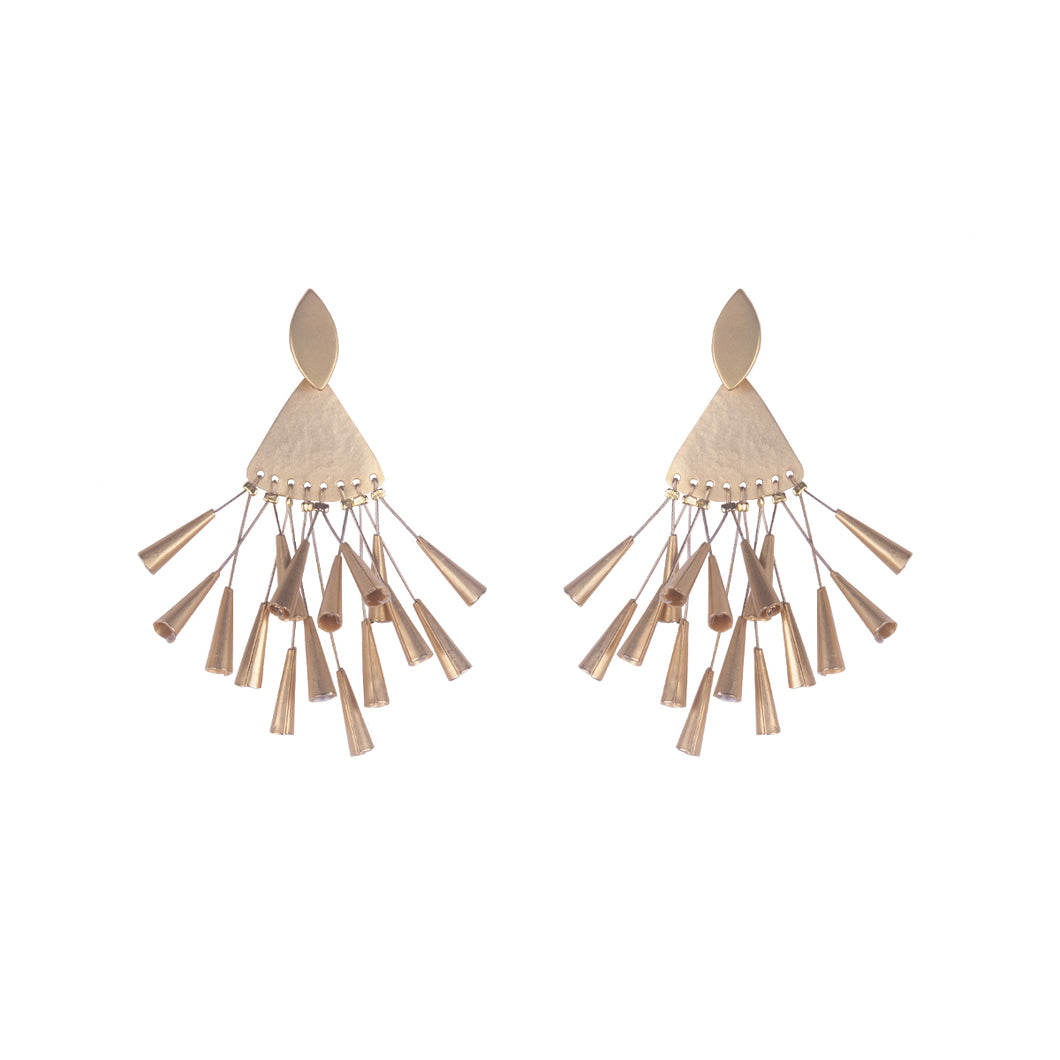 Bronze Multi Tube Chandelier Earrings