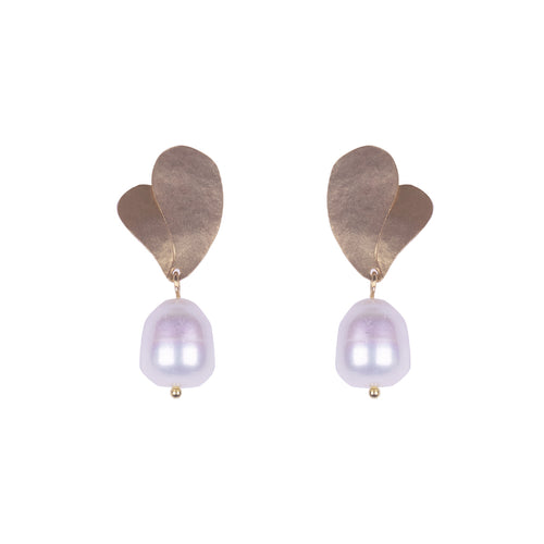 Gold Plated Bronze Double Leaf & Pearl Earring
