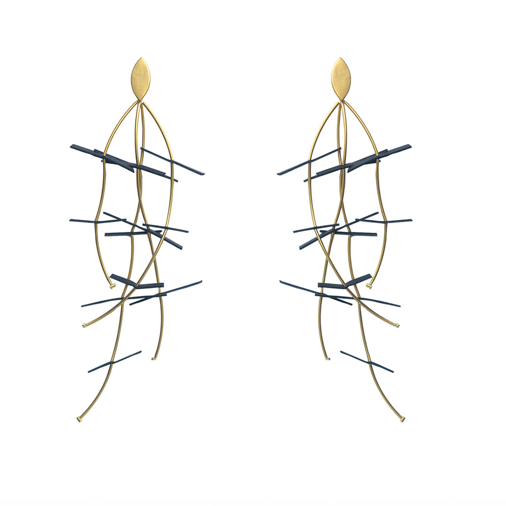 Rubber and Gold Plated Bronze Earrings