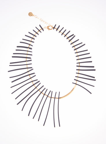 Rubber Spike & Gold Plated Bronze Necklace