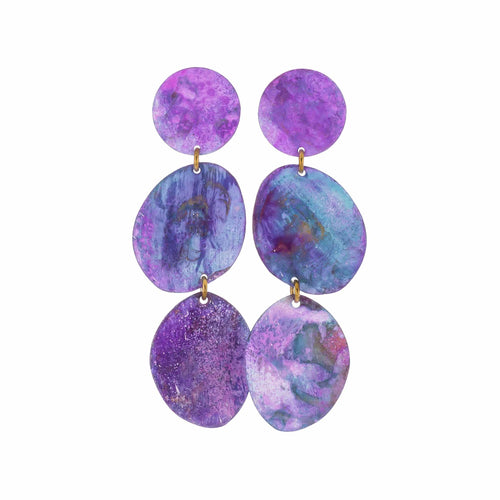 Purple Patina Small Three Pebbles Earrings
