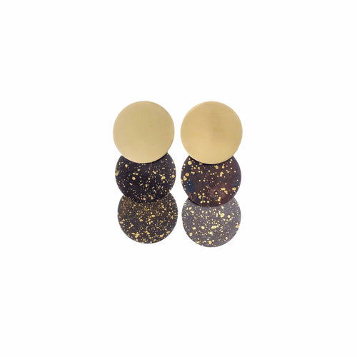 Night Black & Gold Three Circle Earrings