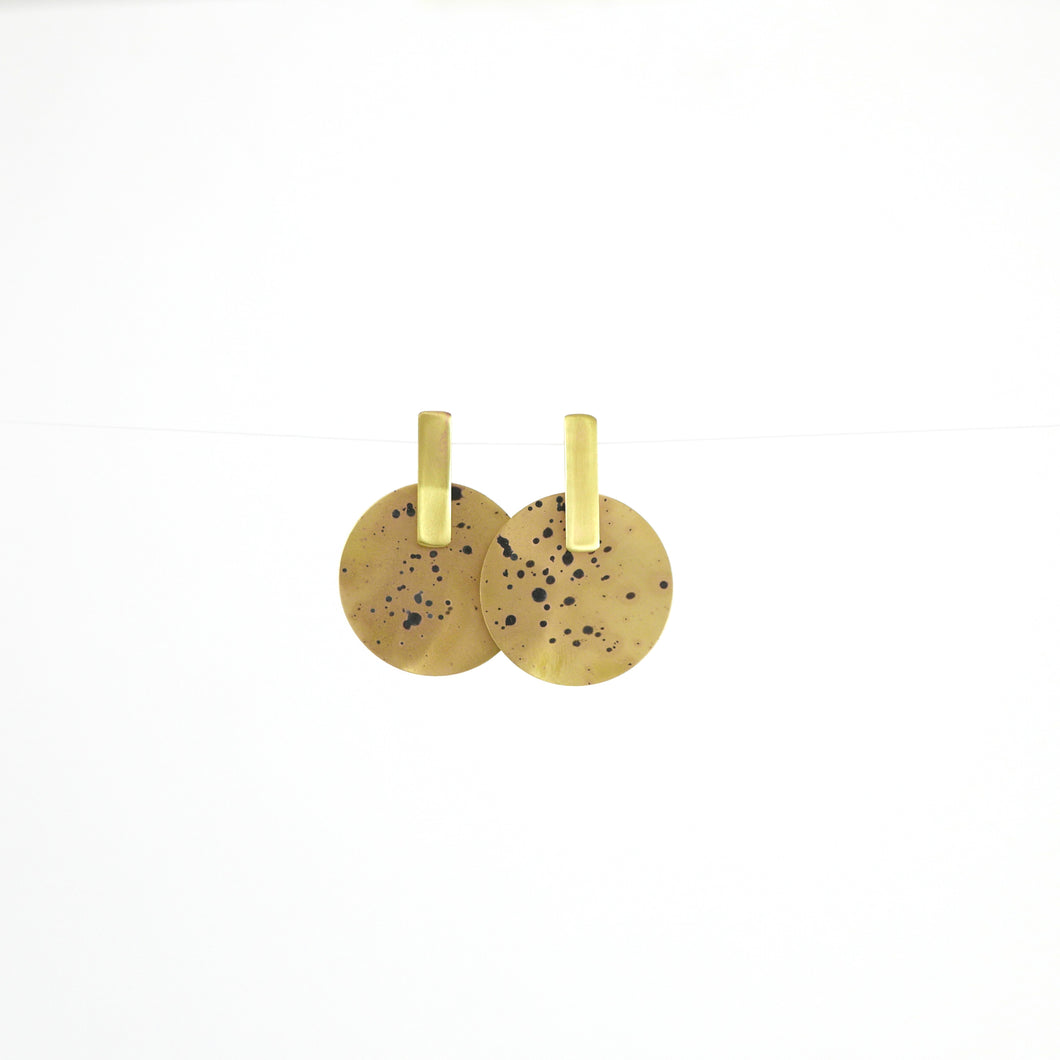 Brass Spot Disc Earrings