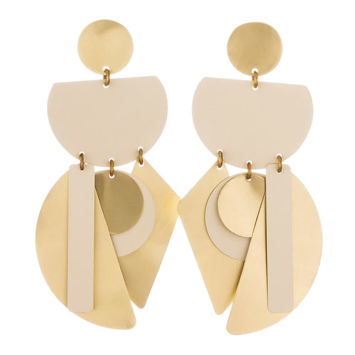 Brass and Ivory Good Fortune Earrings