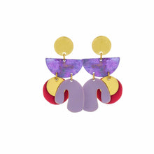 Load image into Gallery viewer, Purple Patina Mix Piba Abstract Earrings