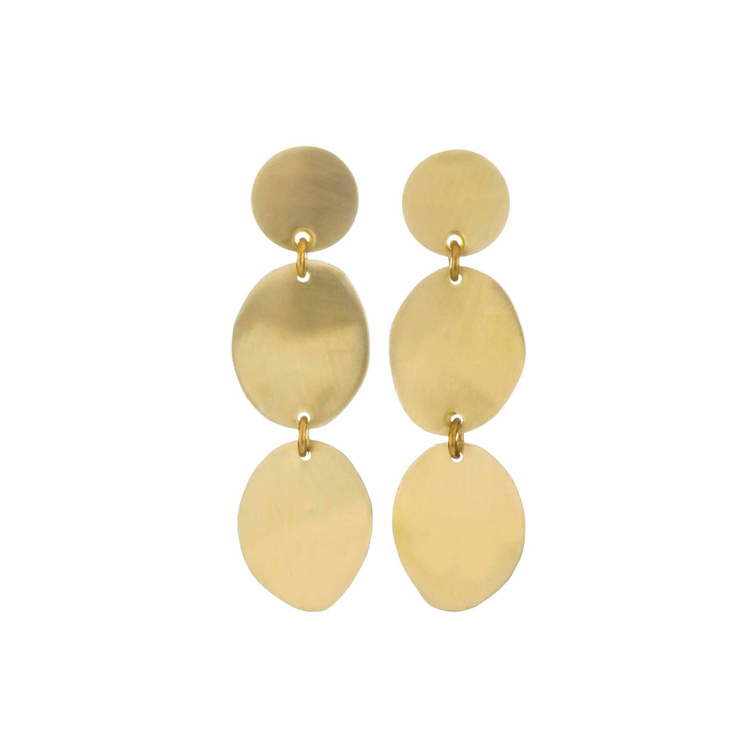 Brass Three Pebbles Earring - Small