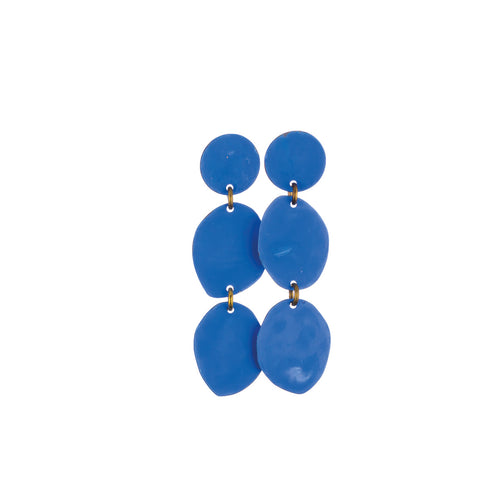 Small Cielo Blue Three Pebbles Earrings