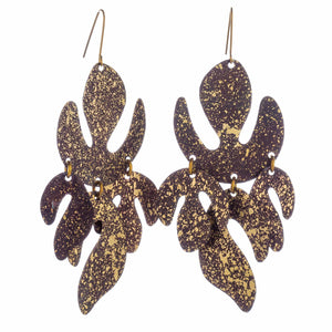 Night Black & Gold XL Flame Earrings
