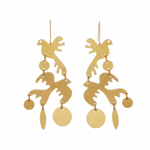 Brass Two Little Birds Drop Earrings
