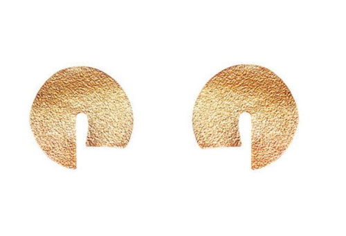 Hammered Gold Plated Bronze Curve Statement Earrings