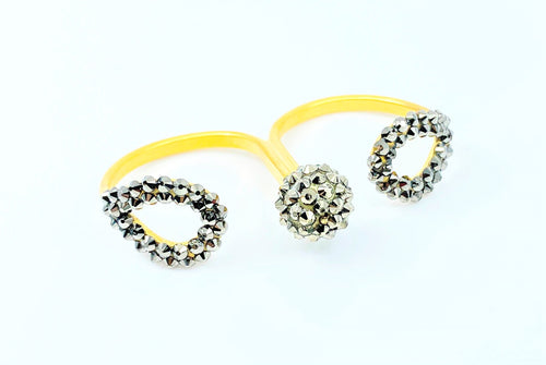 Gold Plated Bronze Loop and Bead Double Ring
