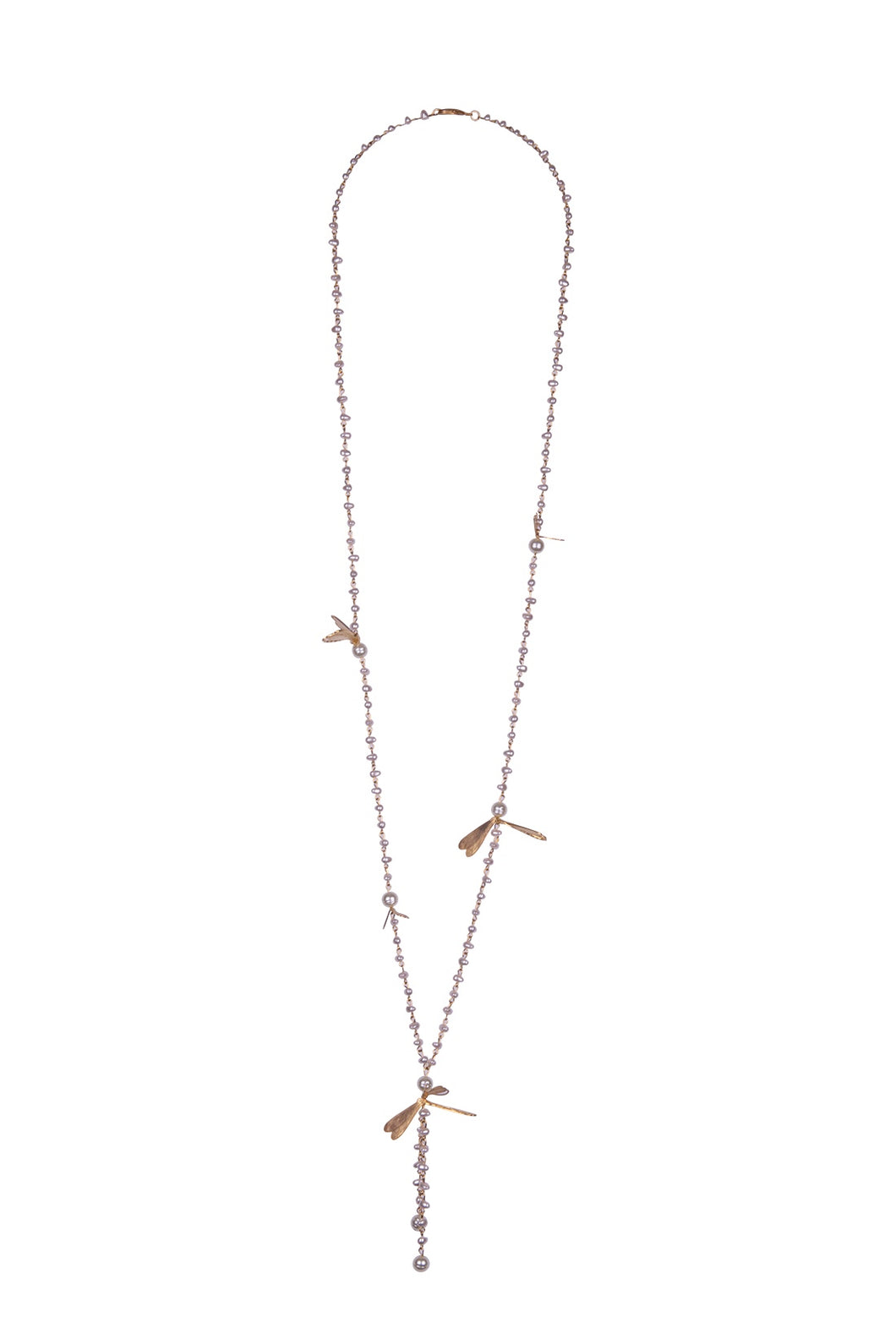 Pearl & Bronze Leaf Lariat Necklace