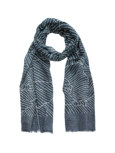 Blue Wave Print Scarf
