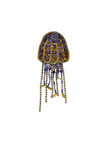 Blue & Gold Jellyfish Brooch