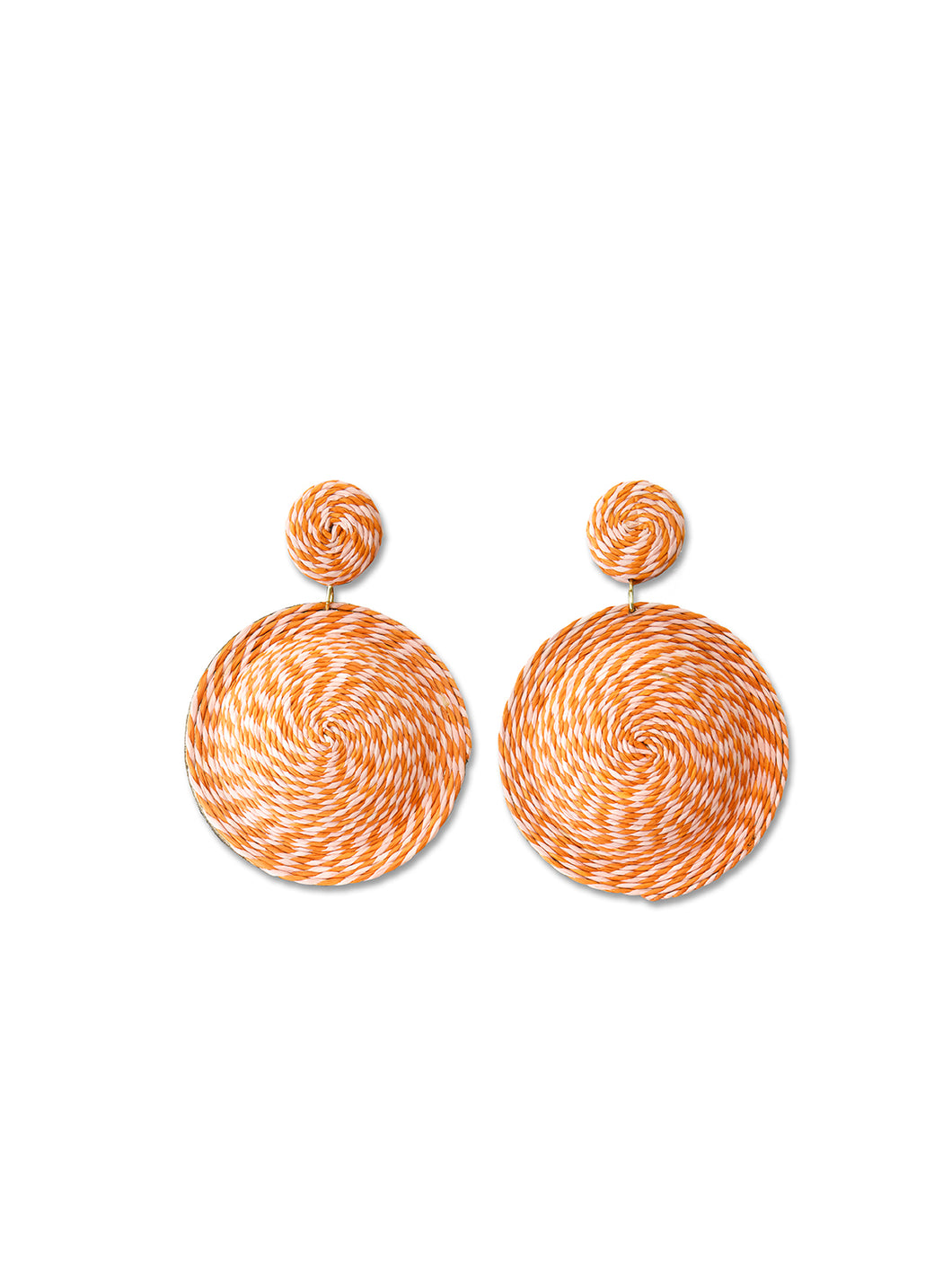 Peach & Rust Woven Disc Earrings