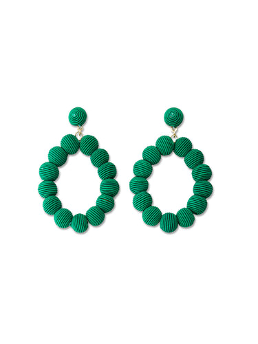 Emerald Woven Oval Ball Earrings