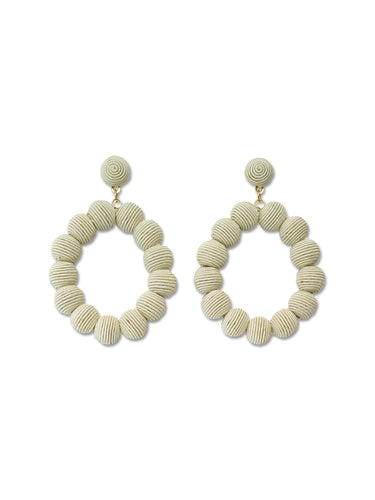 Ivory Woven Oval Ball Earrings