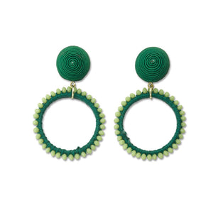 Green Beaded Loop Earrings