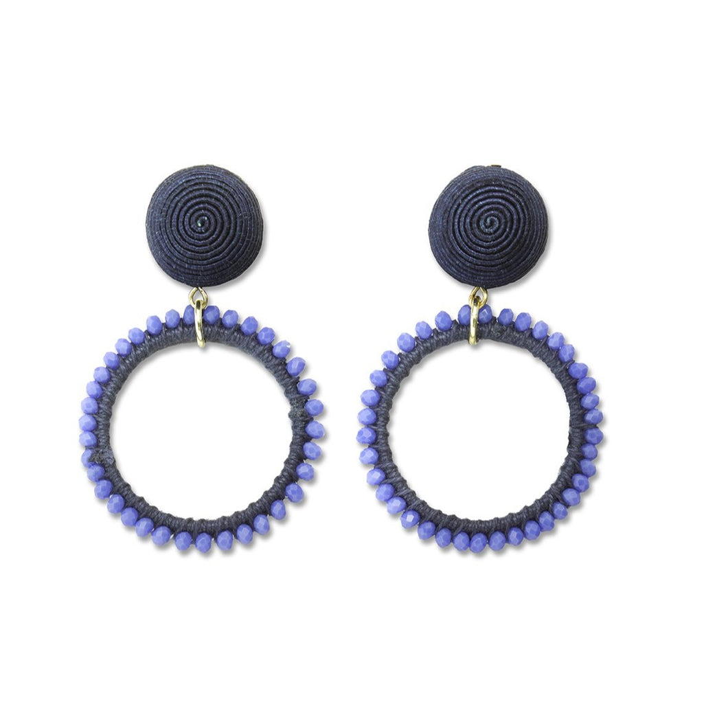 Blue Beaded Loop Earrings
