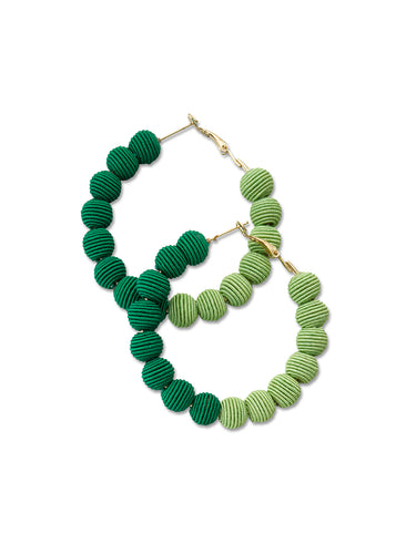 Emerald & Lime Woven Ball Hoop Earrings