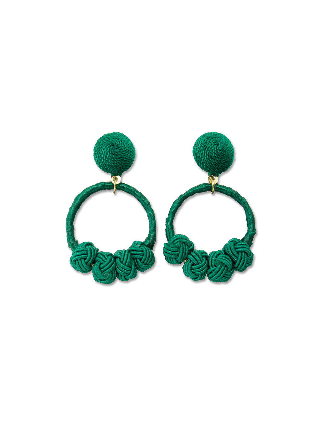 Emerald Woven Knot Loop Earrings