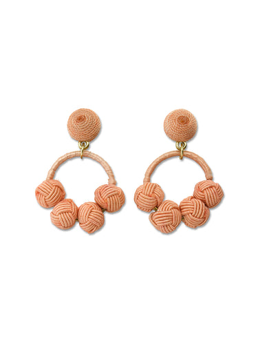 Peach Woven Knot Loop Earrings