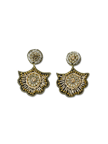 Flower Crest Drop Earrings