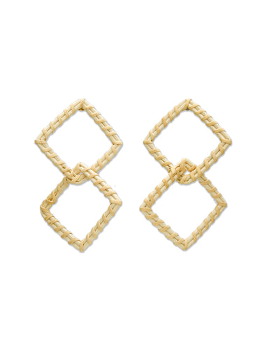 Tan Woven Double Square Earrings