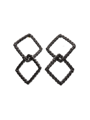 Black Woven Double Square Earrings