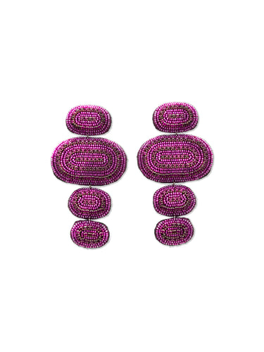 Purple Oval Track Crystal Drop Earrings