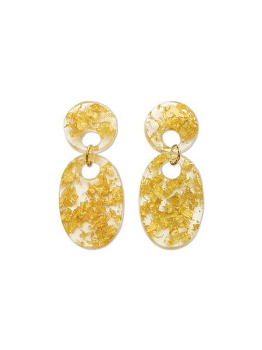 Gold Leaf Resin Oval Drop Earrings